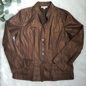COLDWATER CREEK Metallic Bronze Denim Jacket 14